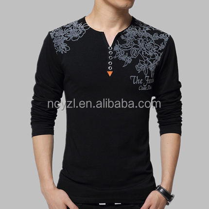 For men to build a good quality from Chinese manufacturers perfect custom printing men's long sleeved T-shirt