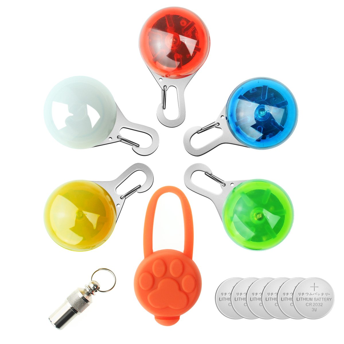 Bright 6pcs Colorful Clip-on Safety Night Light Pet Collar Keychain Light Led Waterproof Safety Night Walking Lights For Dogs And Cats Aesthetic Appearance Security & Protection