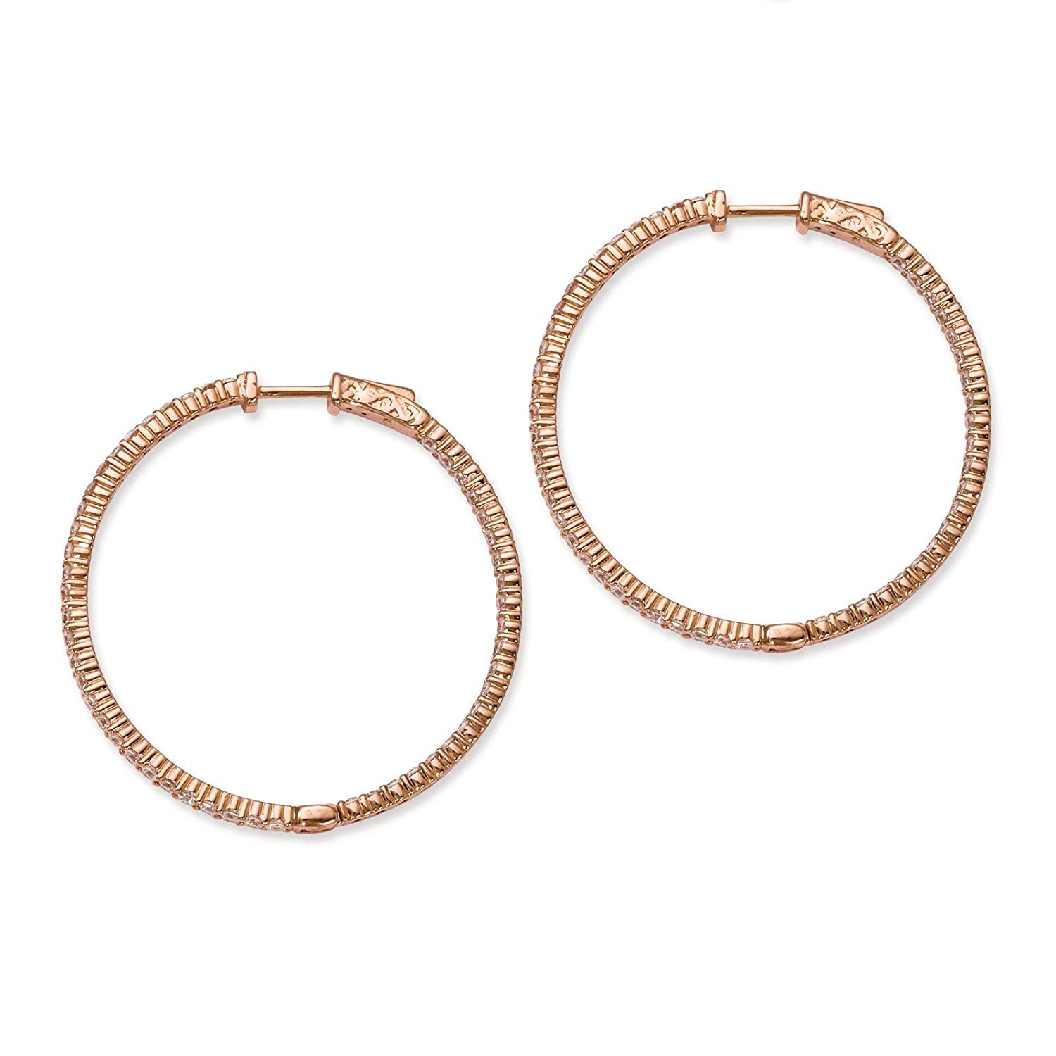 .925 Sterling Silver Rose-tone CZ In & Out Round Hoop Earrings 2mm x 41mm by Sterling Shimmer