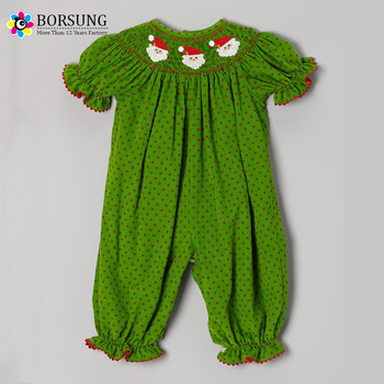 Smocked Christmas Dress.Baby Cotton Latest Frocks Designs Kids Girls Green Santa Face Christmas Smocked Bishop Dresses Buy Girls Christmas Dress Smocked Christmas
