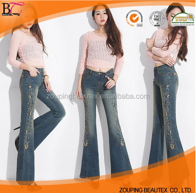 New Model women denim jeans embroidery designs
