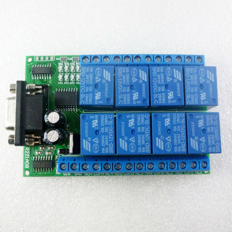 8ch 12v Rs232 Serial Port Relay Module Switch Board For