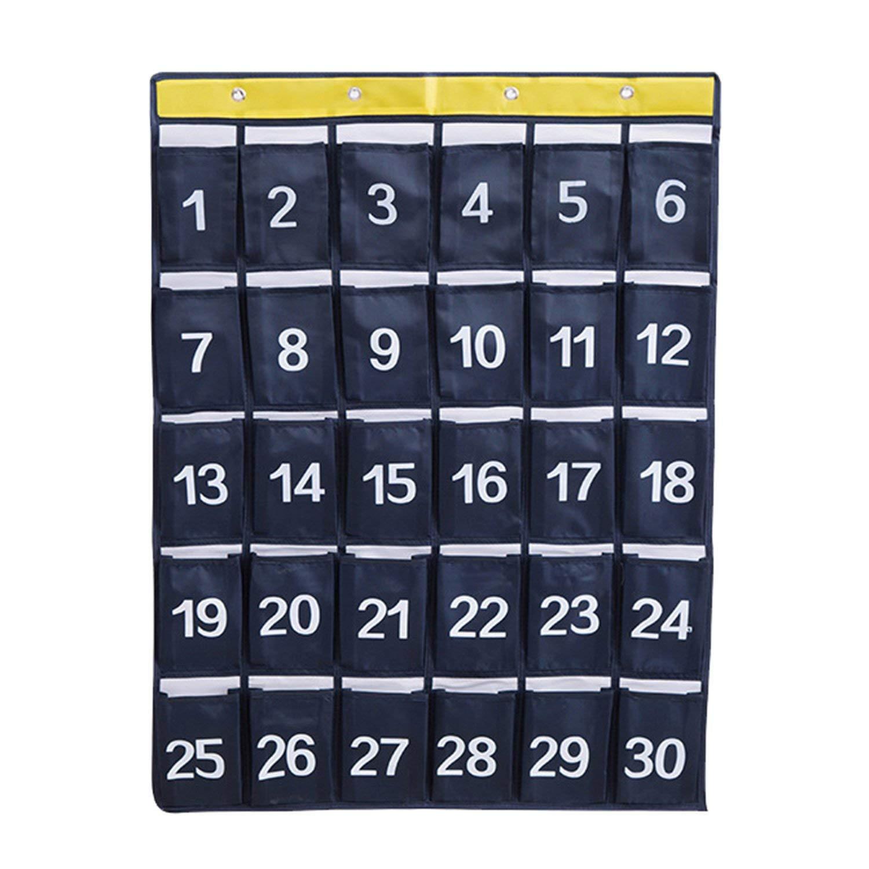 NOTAG Cell Phone Hanging Organizers Classroom Pocket Chart Wall Door Closet Hanging Organizer with Hooks Durable Storage Bag Organizer,2 Size - 30 Pockets & 48 Pockets (Navy Blue1, Medium-30pockets)