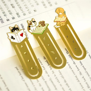 High quality gold color cat shape aluminum alloy metal bookmark