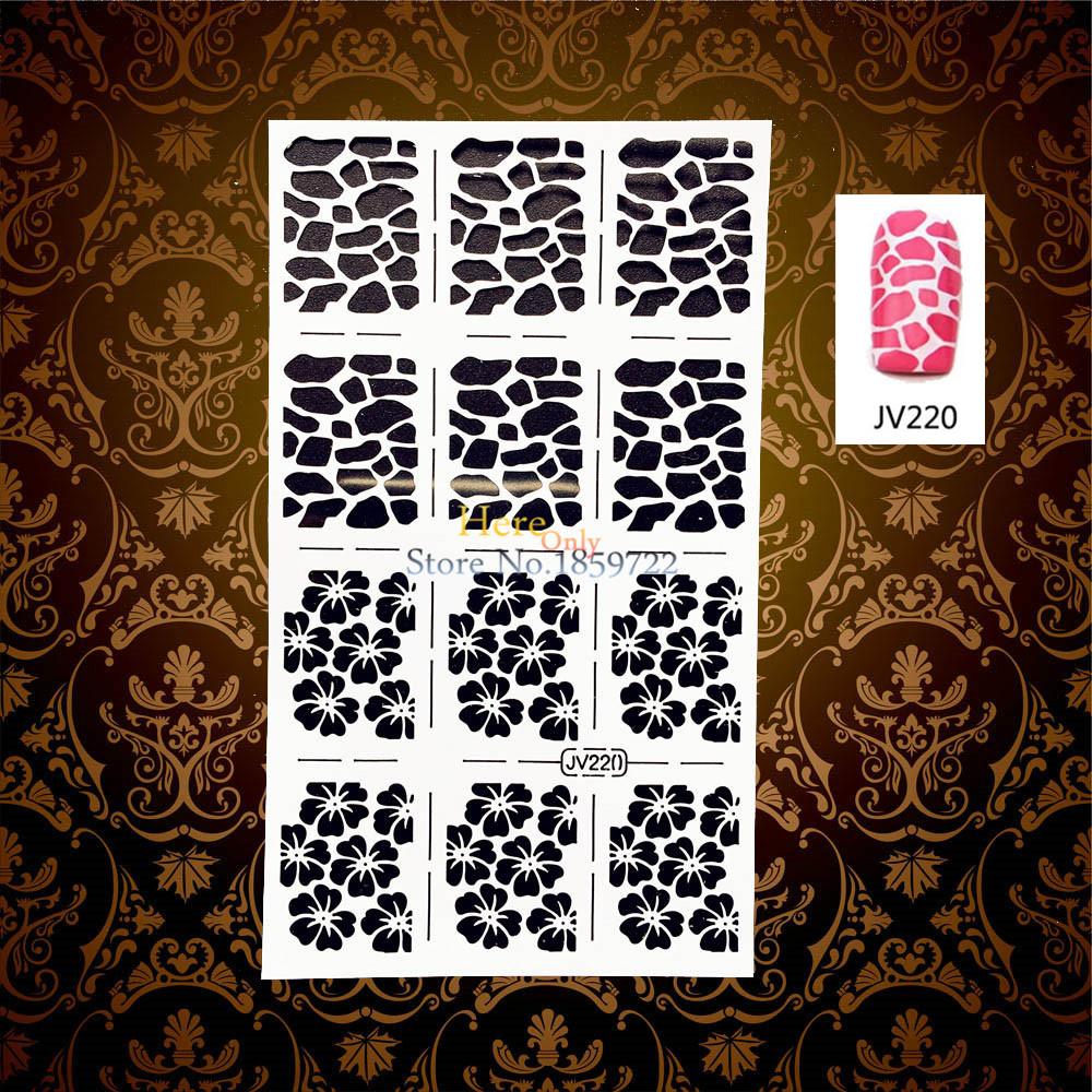 1 Sheet Easy Use White Hollow Thin Nail Vinyls Foils Flower Designs Nail Manicures Art HWJV220