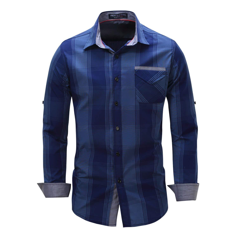 8e6cb5d13d9bc Get Quotations · Mens Casual Slim Fit Check Shirts