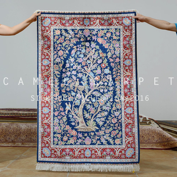 Blue Rug Tree Of Life Design Persian Handknotted Silk Carpet Buy