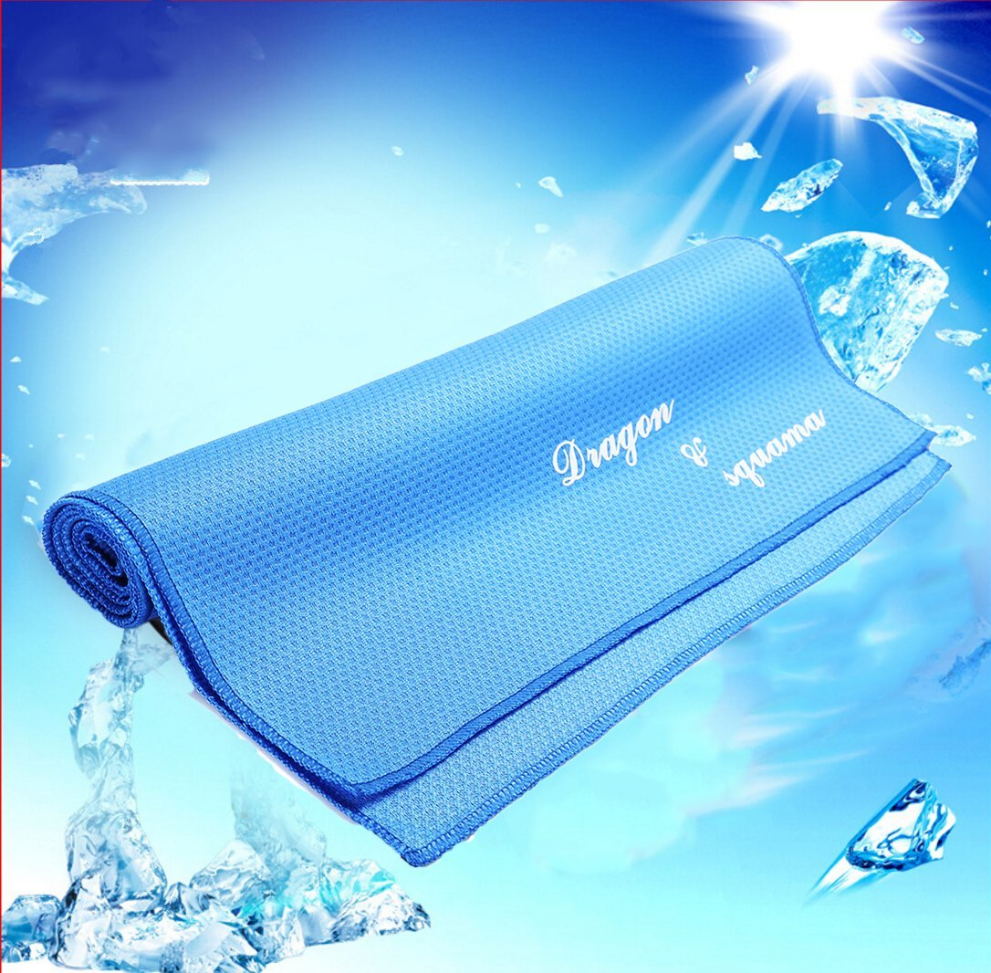 """DS S Camping,Sports Cooling Towel - Microfiber Soft Chilly Instant Cool Neck Snap Travel Scarf - Great for Backpacking,Hiking,Fitness,Workout,Golf,Yoga,Gym,Running Personal Care - Blue 39"""" x 11.4"""""""
