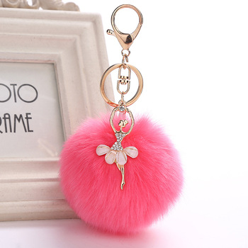 Top quality plush imitation rabbit fur ball key chain Cute little angel diamond keychain with ballet girl
