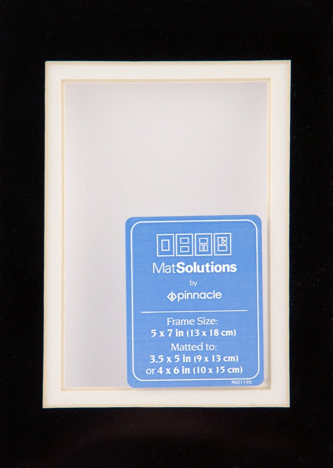 Gallery Solutions Black and White Custom Bevel Cut Double Mat for 5x7 Picture Frame with 3.5x5 Opening
