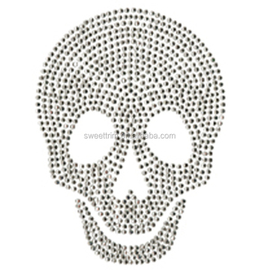 factory directly high quality customized rhinestone skull heat transfer
