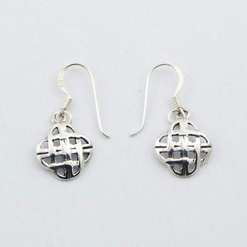Petite Celtic Earrings 925 Silver Openwork Diamonds