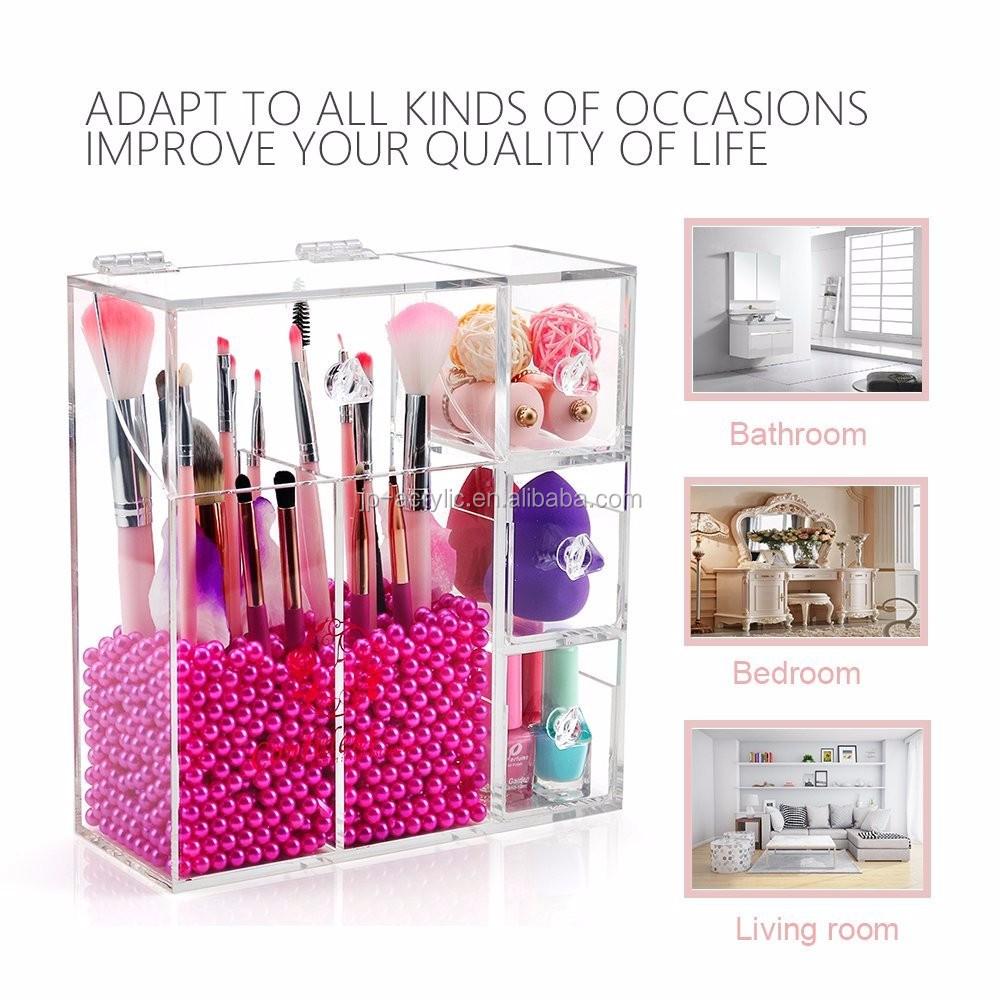 Customs New Style Acrylic Brush Box Storage Beauty Box Acrylic Cosmetic  Makeup Brush Holder Box , Buy Makeup Holder,Acrylic Brush Box,Brush Box