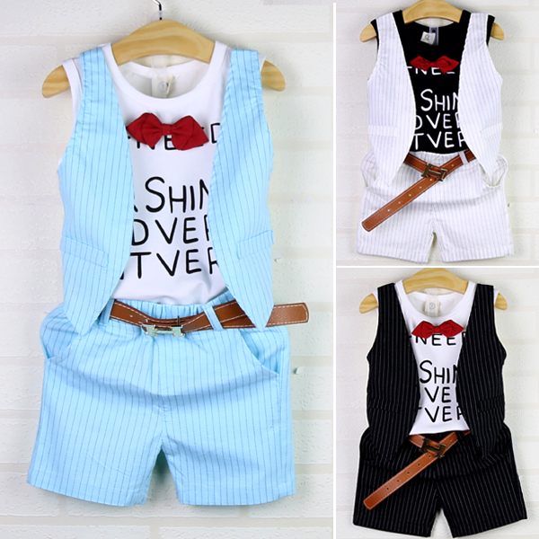 Children s clothing boys set child boys summer clothes set child handsome faux two piece t