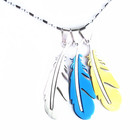 Woman Friend Stainless Steel Gold Bule Black Feather Jewellery Pendant Necklace