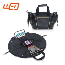 2017 PU black large capacity multifucton Foldable Duffle portable travel organizer wash toiletry ladies women hand bag