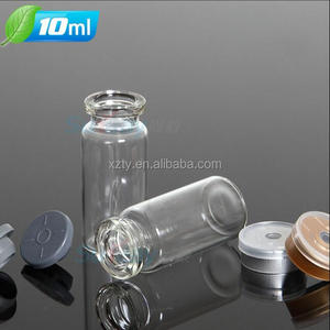 wholesale 10ml clear glass penicillin tube Medicine bottle/ Ampoule with aluminum rubber plug