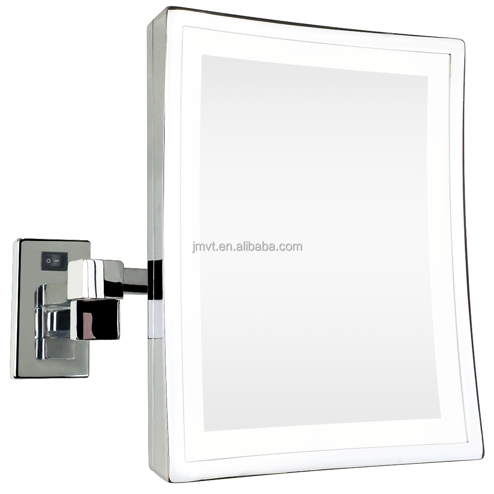 Rectangle Magnifying Wall Mount Movable Bathroom Mirror Led Makeup Double Sides With Extendable Arms