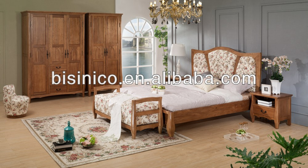 English Country Romantic Style Bedroom Furniture Set Natural Queen Size Sleigh Bed Wardrobe Night Stand Bench Buy English Country Style Bedroom