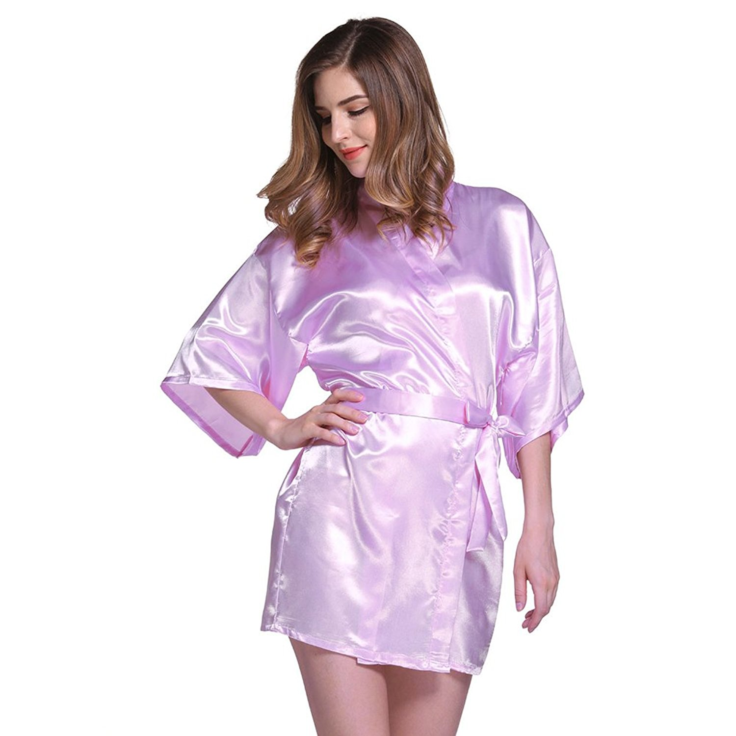 59b175ca9 Get Quotations · Amurleopard Womens Kimono Robe Knee Length Bridal Lingerie  Sleepwear Pure Colour Short Satin Robe Light Purple