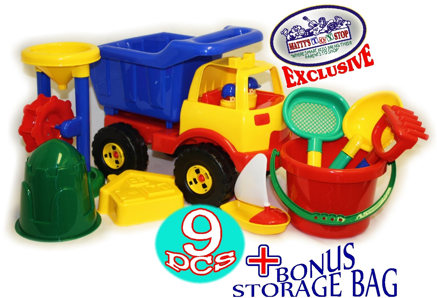 Matty S Toy Stop 9 Piece Deluxe Plastic Beach Toys Sand Set With 16 5 Dump