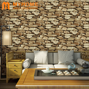 Waterproof vinyl brick stone 3d wallpaper for home decoration