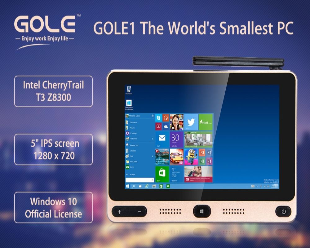 GOLE1 720x1280 IPS Windows10 Android i Cherrytrail Z8300 quad core 4G+32G/64G mini PC with USB3.0 Dual-band WIFI Set Top TV