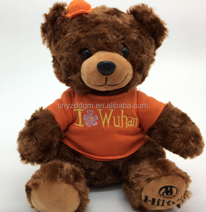 High quality customized company mascot plush stuffed valentine bear for gift to girl