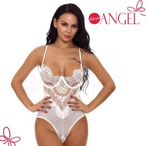 China wholesale perspective mesh lace hot mature women bodysuits sexy teddy lingerie