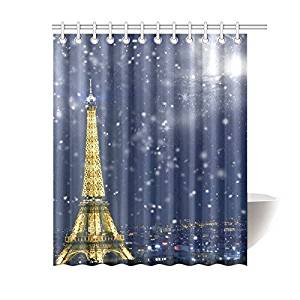 InterestPrint Eiffel Tower with Snowflakes Home Decor, Winter Christmas City Landscape Polyester Fabric Shower Curtain Bathroom Sets with Hooks 60 X 72 Inches