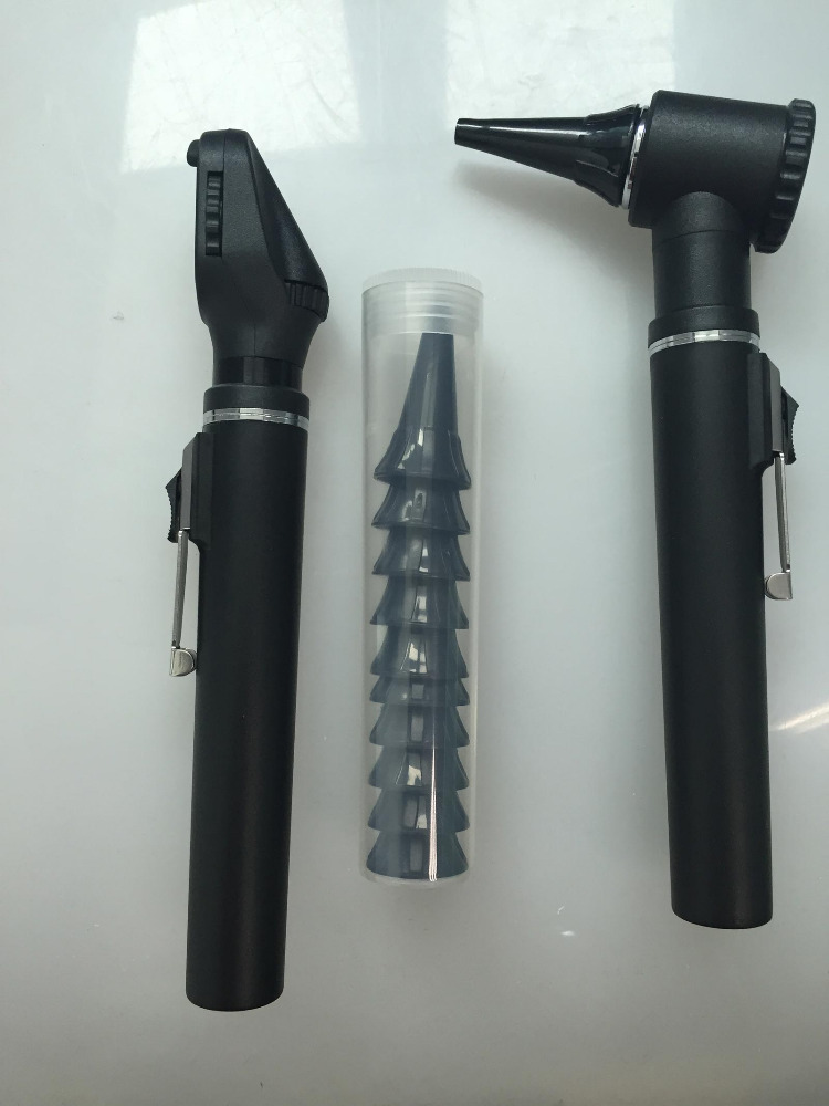 Professional Black Fiber Optic Otoscope Ophthalmoscope Combined Set LED