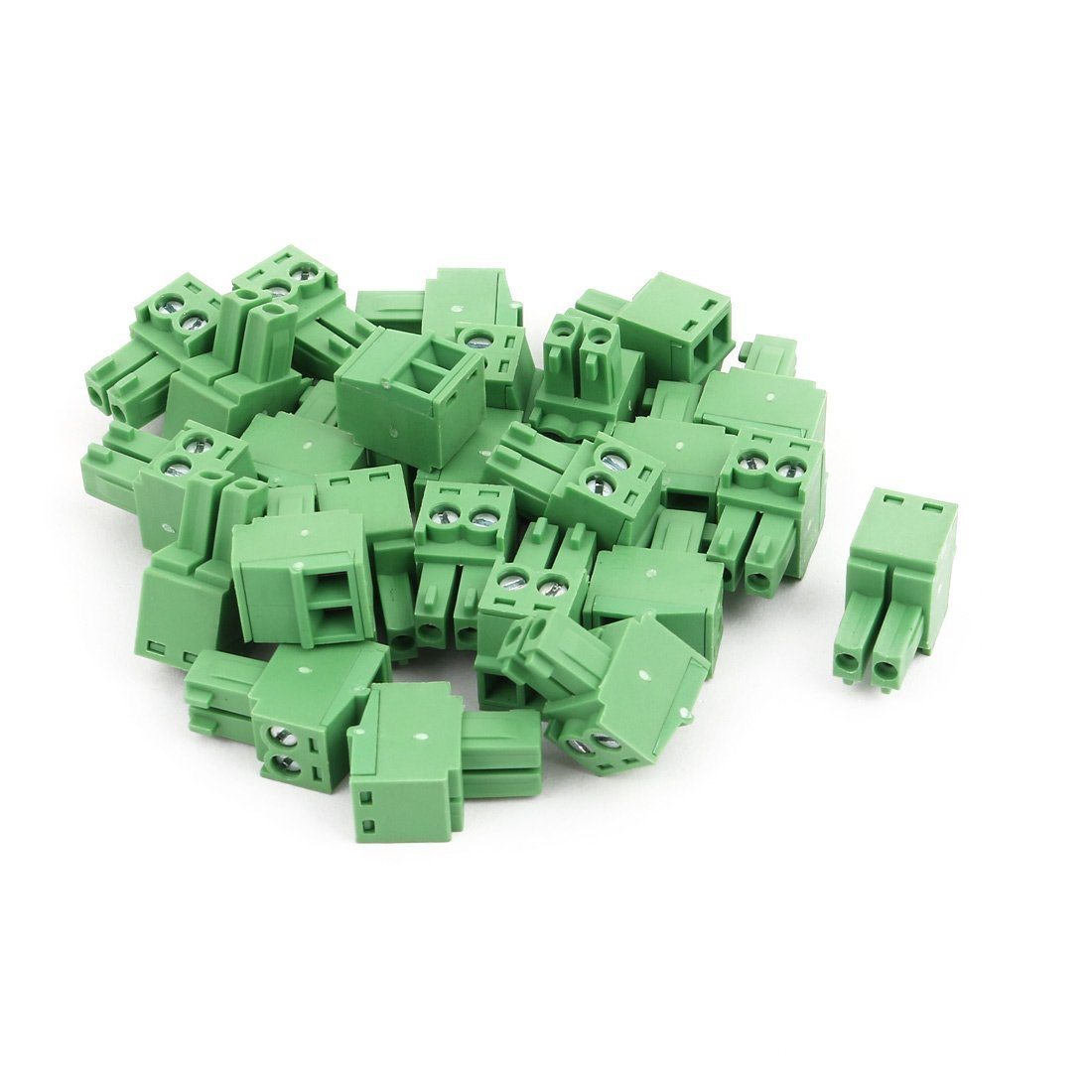 uxcell 25Pcs AC 300V 8A 3.5mm Pitch 2P PCB Mounting Terminal Block Wire Connection Green