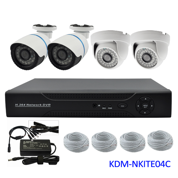 4 channel cctv camera system, 720P ip camera NVR alarm security Kit, Plug and play, easy to install