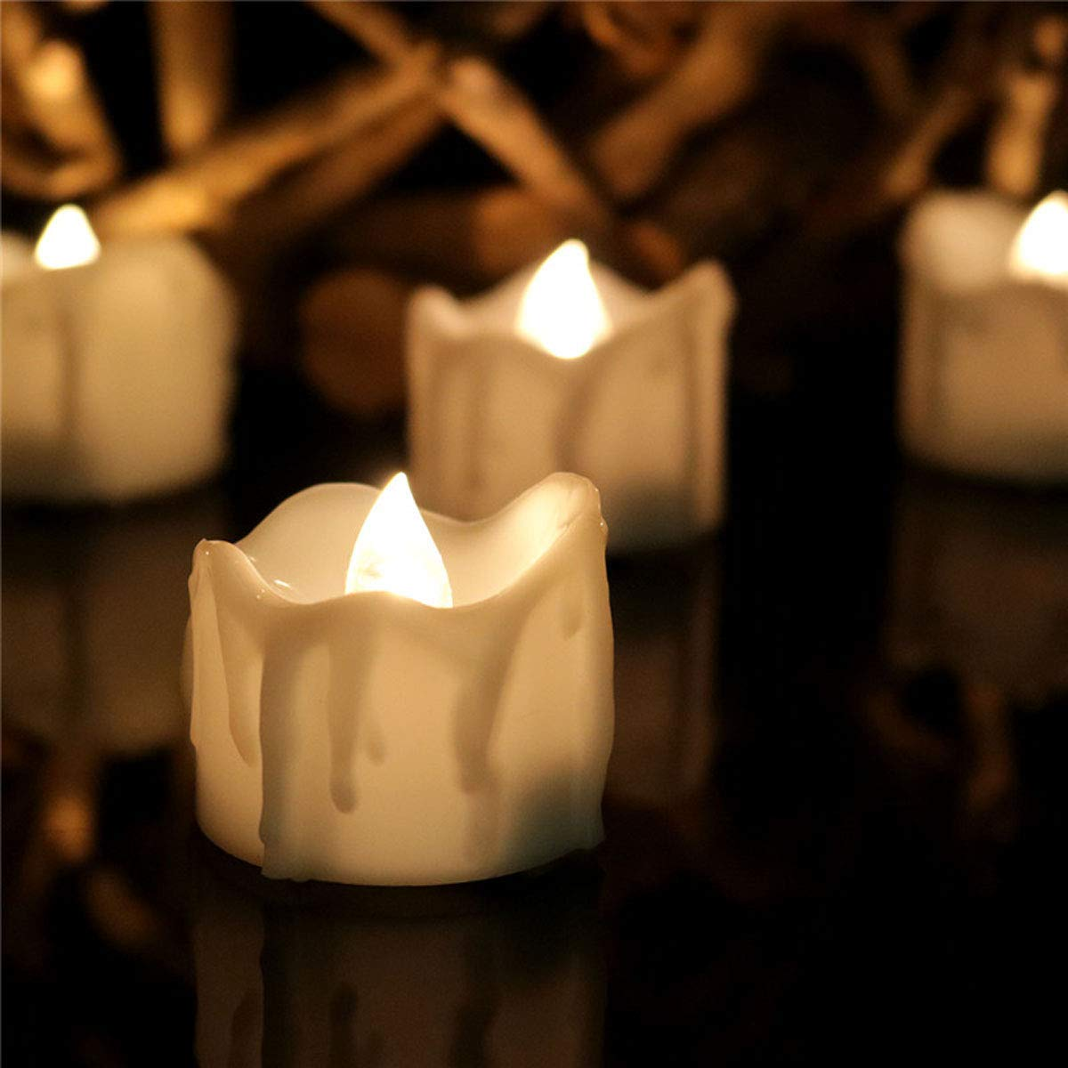 Dellukee Led Flameless Candles White Timer Drop Tear Flickering Realistic Battery Operated Tea Lights for Wedding Birthday Party Decoration, Pack of 12, Electric Fake Candle in Warm White