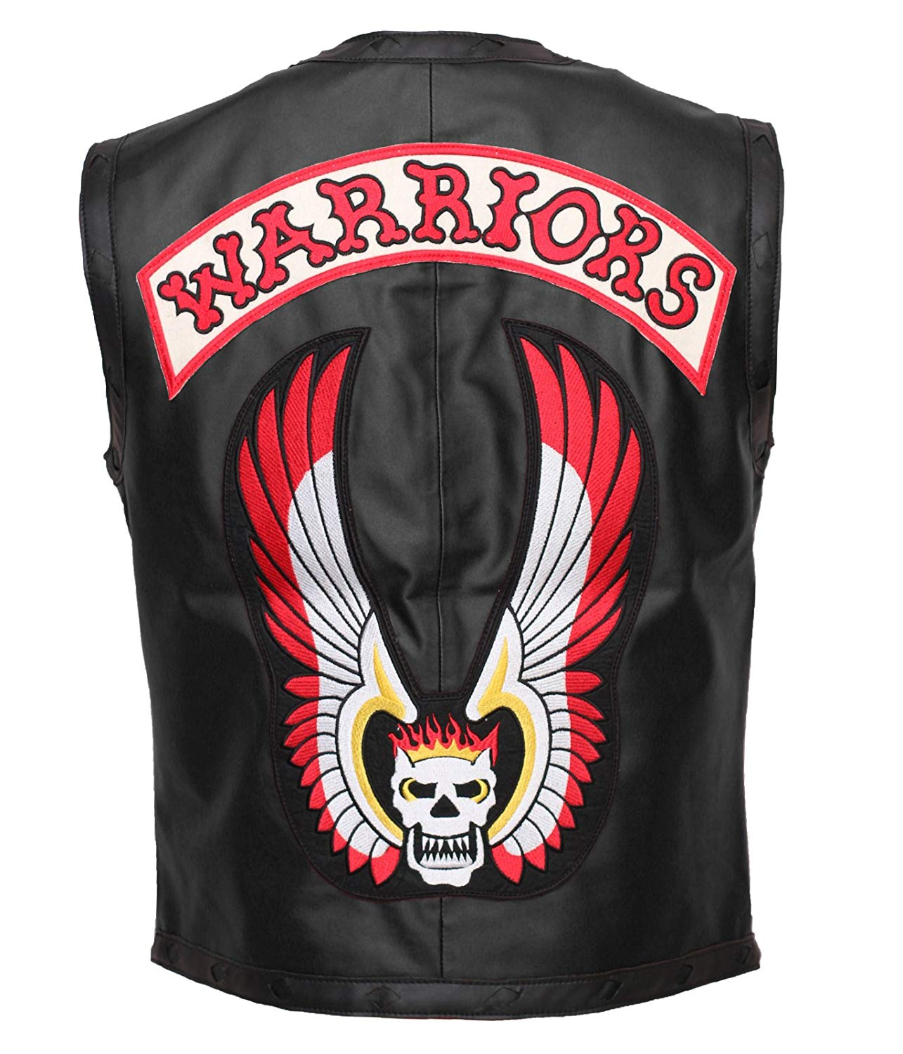 Herts Leather Skull Emroidered Mens Gang Warrior Style Synthetic Leather HQ Vest In Black