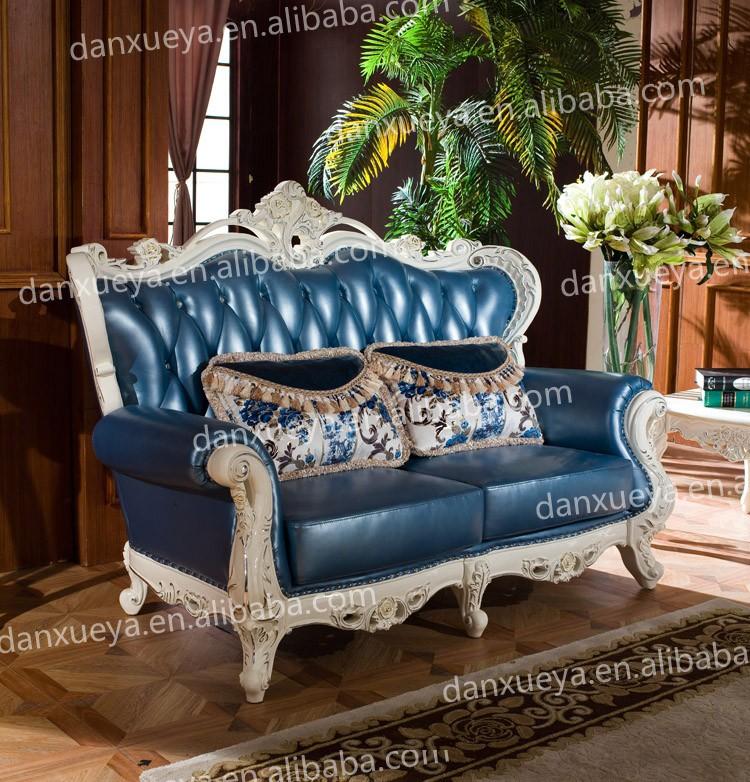Turkish Style Royal Living Room Light Blue Leather Sofa