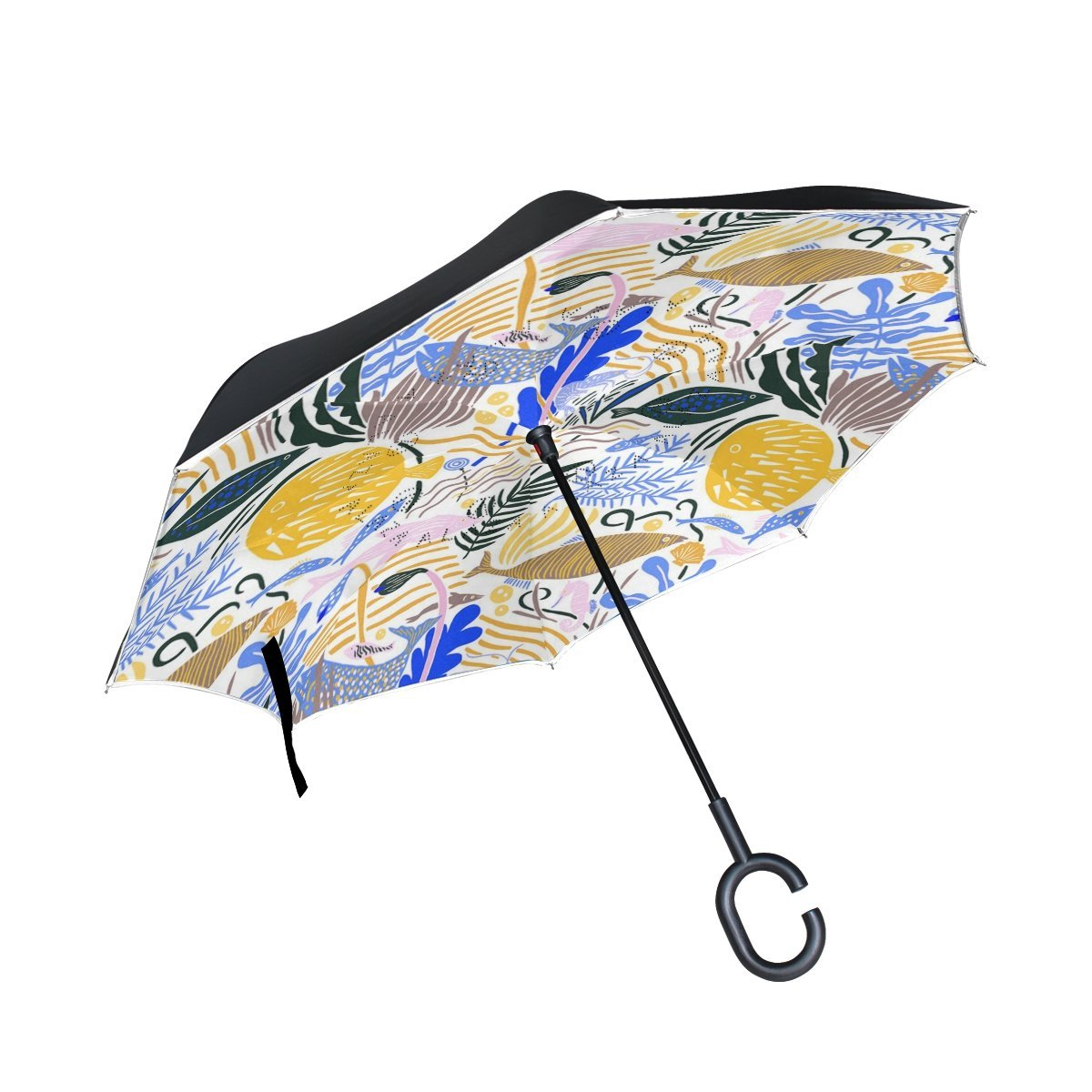 Custom The Blue Whale Compact Travel Windproof Rainproof Foldable Umbrella