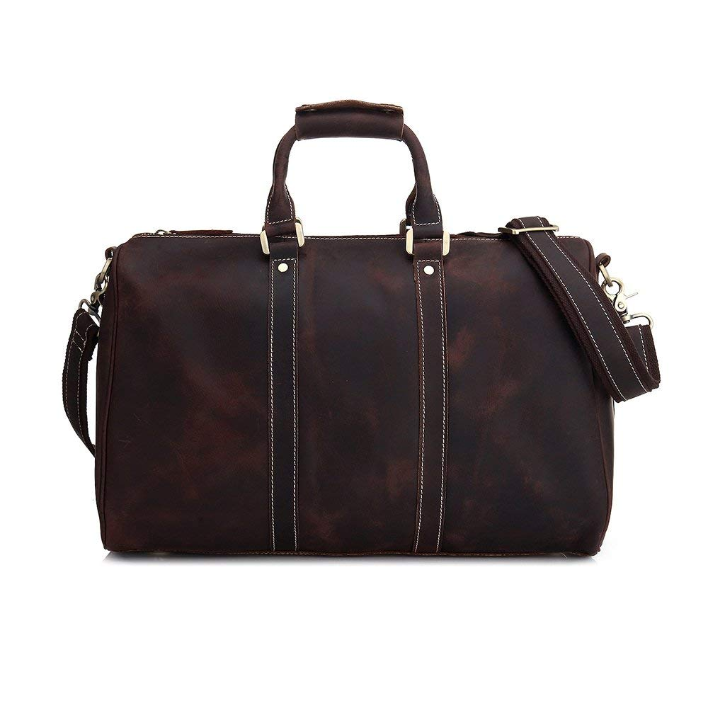 Get Quotations · Luxury Dark Brown leather travel duffle bag vintage leather  weekender mens duffel bag 0da26a008f01b