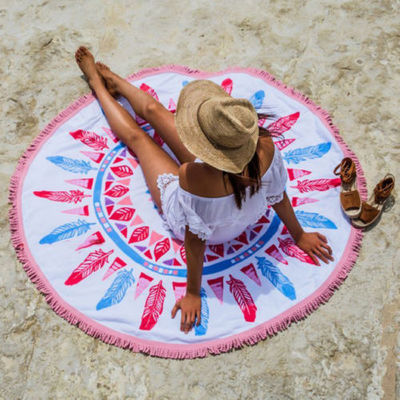 Roundie Tablecloth with tassel Mandala Round Printed Beach Towel