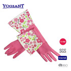 latex glove with pattern,rubber glove with long cuff,kitchen glove with beautiful pattern