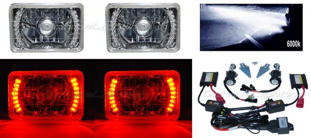 "OCTANE LIGHTING 4X6"" Red Led Halo Projector 6000K Hid Headlight Headlamp Bulb Crystal Clear Pair"