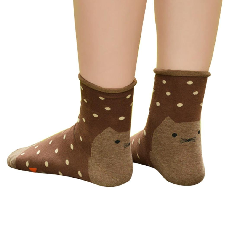 Creazy® 3d Animals Striped Cartoon Socks Women Cat Footprints Cotton Socks