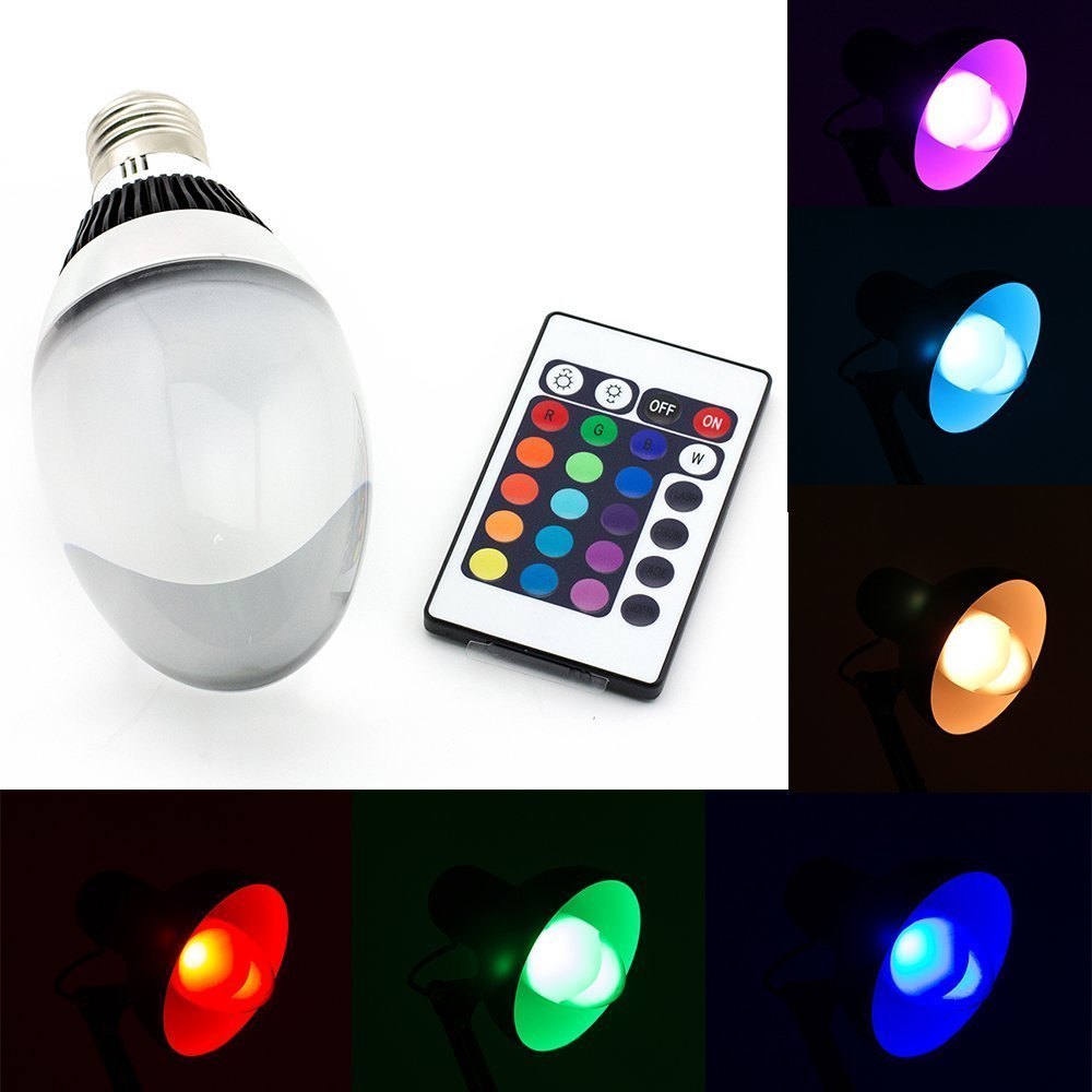 DW E27 10W RGB Color Changing LED Light Bulb with 24-key Remote Controller Dimmable Multi Color LED Bulb Birthday Party Celebration Backlight Club LED Mood Light Bulb