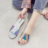 Summer Shoes PVC Transparent Bling Beach Slides Sandals Peep Toes Female Casual Shoes Slipper