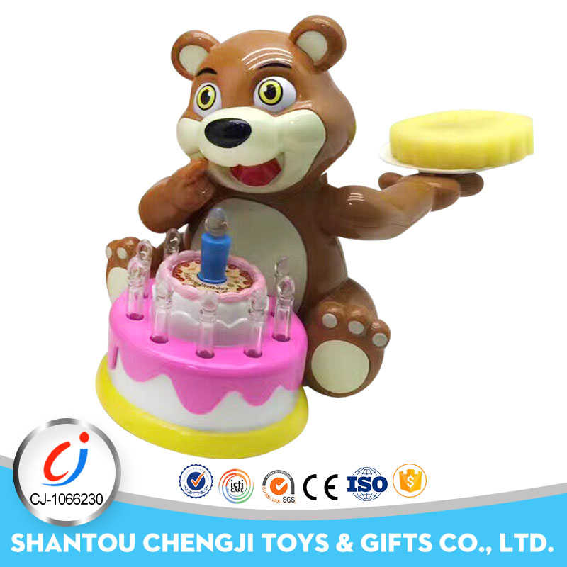 Funny animal toy electrical mini plastic bear with music