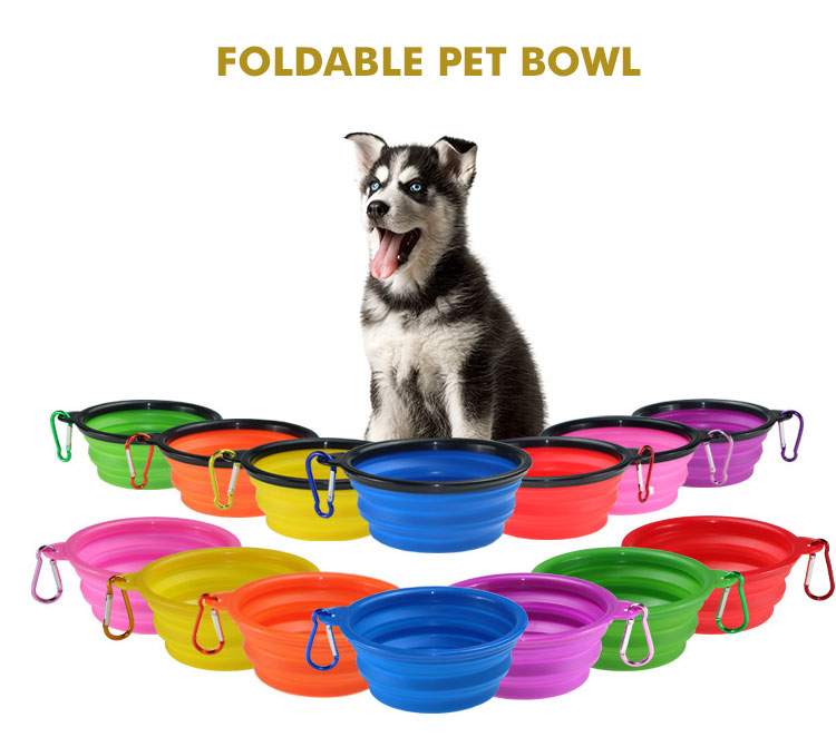 Travel Camping Climbing Foldable Portable Silicone Bowl Pet Water Feeder