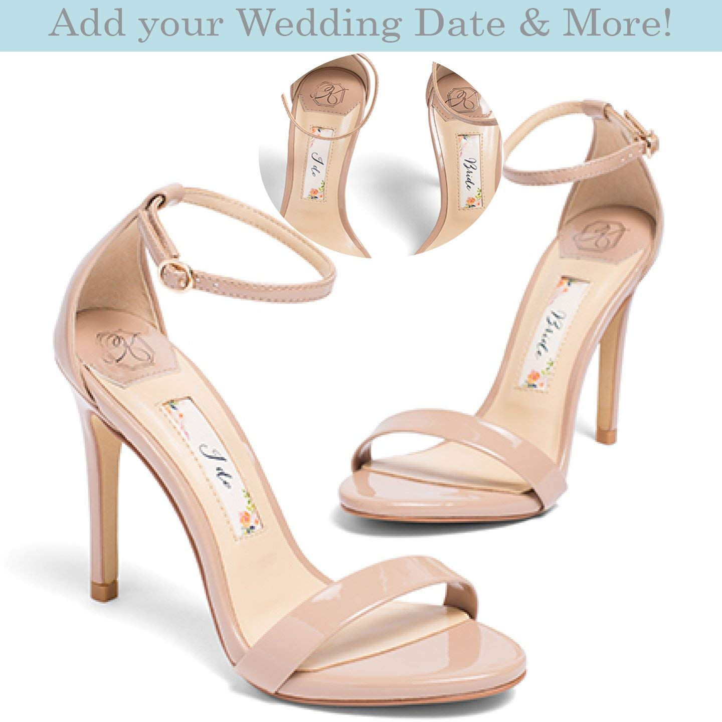 "Wedding Shoes -""Patent-Pending"" personalization - Nude wedding sandal - Style Samantha"