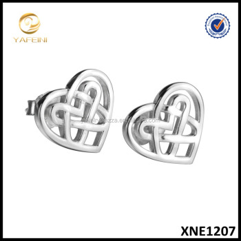 Wholesale Celtic Knot Jewelry 925 Sterling Silver Open Heart Stud Earrings