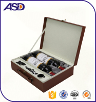Custom made luxury leather gift set wine box with handle