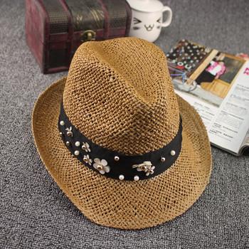 Gaya musim panas liburan wanita jerami topi fedora wanita pantai jerami topi  Trilby (SU- b7b555c0cb